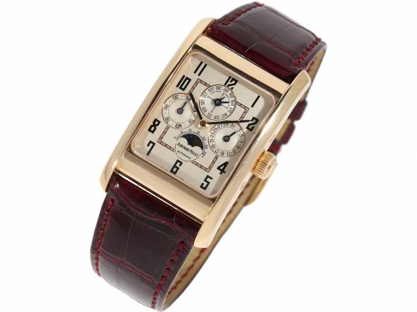 "Watch: sophisticated rectangular, 18K pink gold gentleman's wristwatch Audemars Piguet ""Edward Piguet Perpetual Calendar"" Ref. 25799OR, with original box and original papers - photo 3"