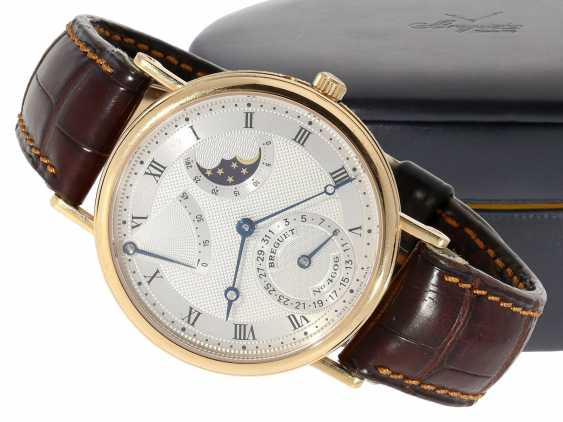 """Watch: a complicated astronomic 18K pink gold gentleman's wristwatch """"Breguet Classique moon phase Power Reserve"""" Ref.3137, with original box and original papers, from the year 2000 - photo 1"""