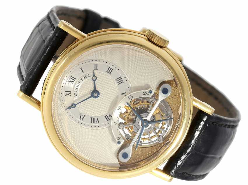 """Watch: exceptional and very high quality 18K yellow Gold gentleman's wristwatch """"Breguet Tourbillon, Ref.3350 BA 12 286"""", No. 225 E, from the year 1993, with Box & papers - photo 1"""