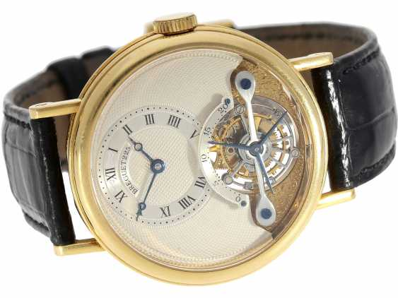 """Watch: exceptional and very high quality 18K yellow Gold gentleman's wristwatch """"Breguet Tourbillon, Ref.3350 BA 12 286"""", No. 225 E, from the year 1993, with Box & papers - photo 2"""