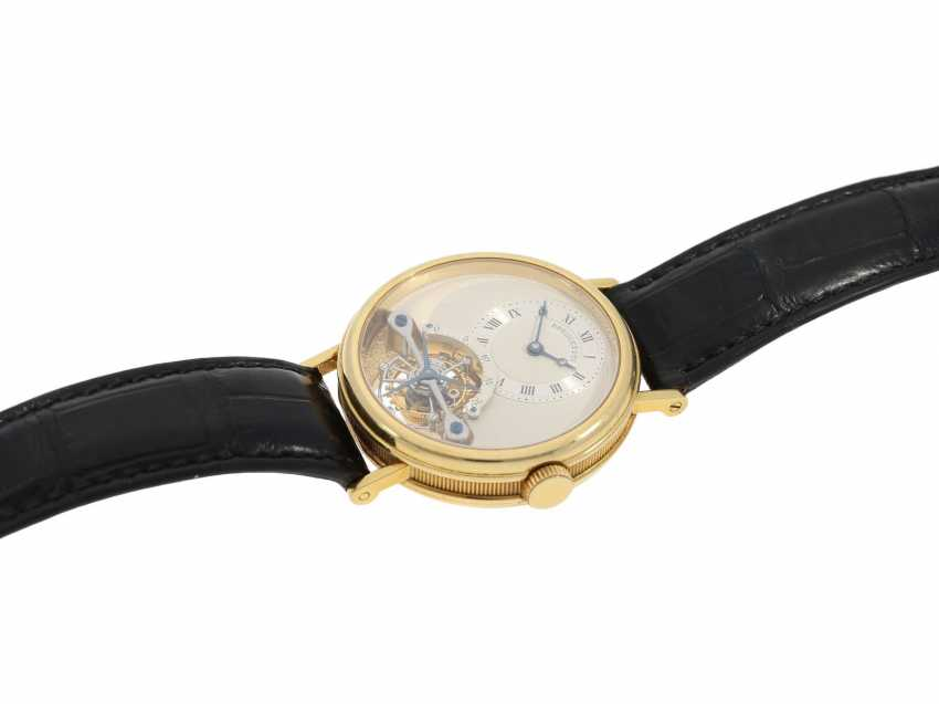 """Watch: exceptional and very high quality 18K yellow Gold gentleman's wristwatch """"Breguet Tourbillon, Ref.3350 BA 12 286"""", No. 225 E, from the year 1993, with Box & papers - photo 5"""