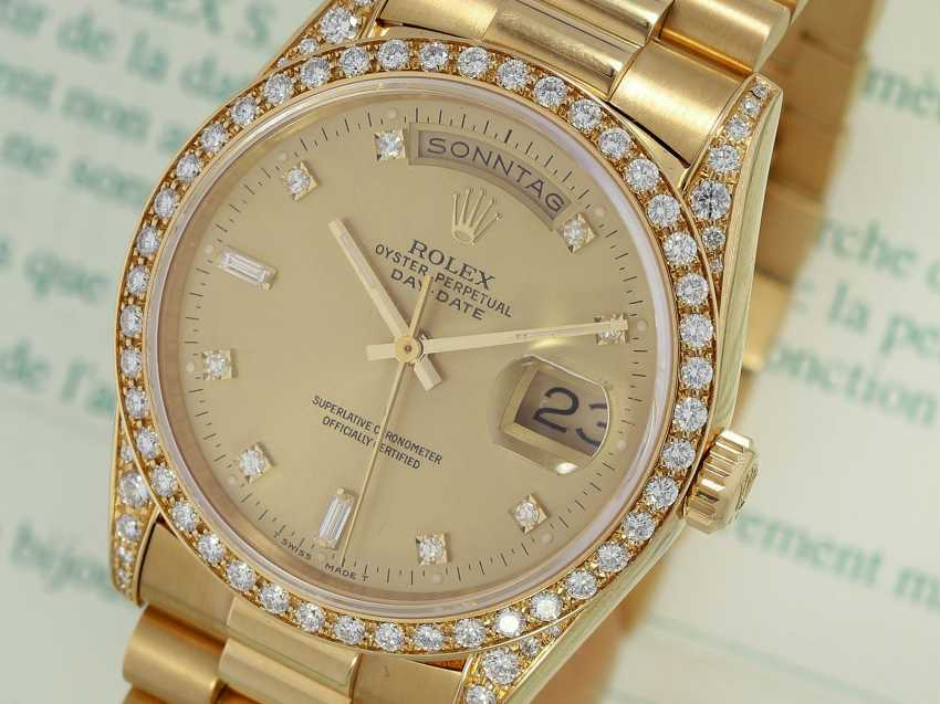 Watch: luxury 18K Gold Rolex Day-Date Ref. 18388, with original diamonds, original papers and service document, 2015, LC100, from the year 1995, condition as NEW! - photo 1