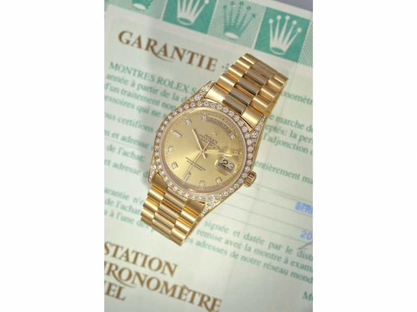 Watch: luxury 18K Gold Rolex Day-Date Ref. 18388, with original diamonds, original papers and service document, 2015, LC100, from the year 1995, condition as NEW! - photo 4