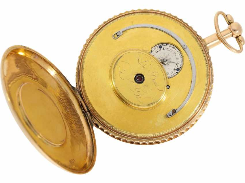 Pocket watch: unusual, unique gold savonnette with back enamel magnifying glass painting, probably Imperial Präsentuhr, Portrait of Alexander I., Czar of Russia, Dubois et Fils, No. 5600, approx. 1820 - photo 4