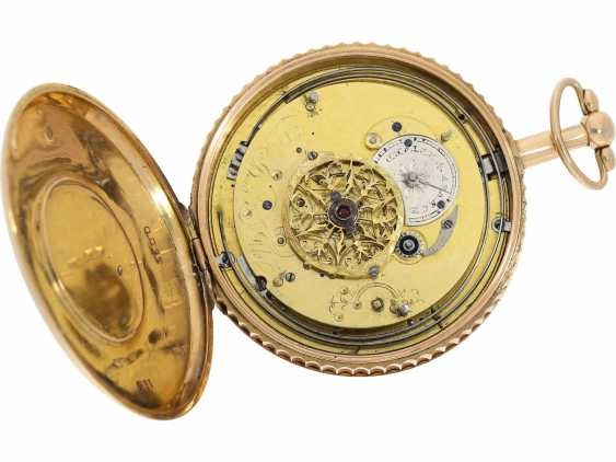 Pocket watch: unusual, unique gold savonnette with back enamel magnifying glass painting, probably Imperial Präsentuhr, Portrait of Alexander I., Czar of Russia, Dubois et Fils, No. 5600, approx. 1820 - photo 5