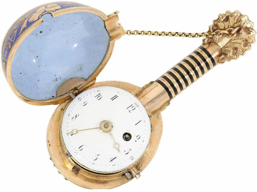 "Anhängeuhr/Formuhr: Gold/enamel Formuhr of outstanding quality, the ""Neapolitan mandolin"", Paris, 1830, cf. the collection of Sandberg p. 446-447 - photo 4"