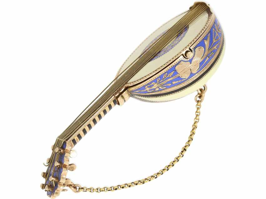 "Anhängeuhr/Formuhr: Gold/enamel Formuhr of outstanding quality, the ""Neapolitan mandolin"", Paris, 1830, cf. the collection of Sandberg p. 446-447 - photo 6"