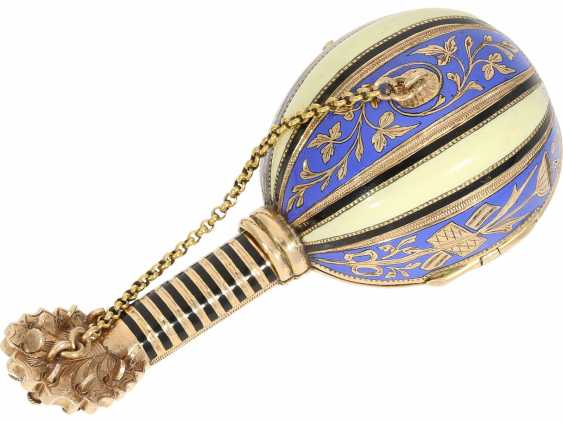 "Anhängeuhr/Formuhr: Gold/enamel Formuhr of outstanding quality, the ""Neapolitan mandolin"", Paris, 1830, cf. the collection of Sandberg p. 446-447 - photo 7"