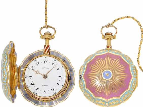 Pocket watch: a Museum, a large English Gold/enamel pocket watch with Repetition, with excellent quality, Ray & Montague, London, No. 1874, CA. 1815 - photo 1