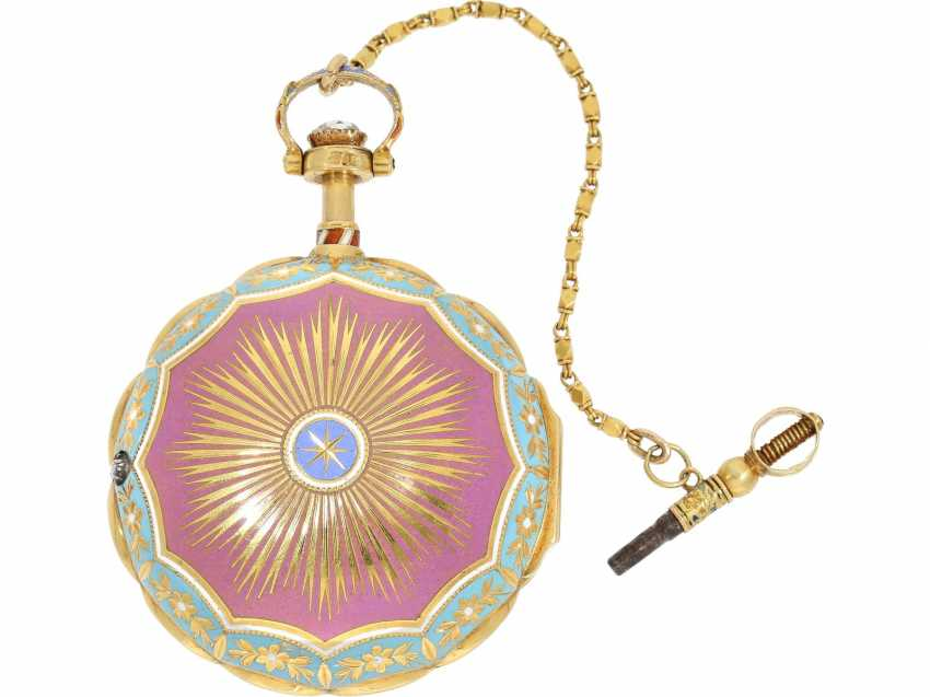 Pocket watch: a Museum, a large English Gold/enamel pocket watch with Repetition, with excellent quality, Ray & Montague, London, No. 1874, CA. 1815 - photo 2
