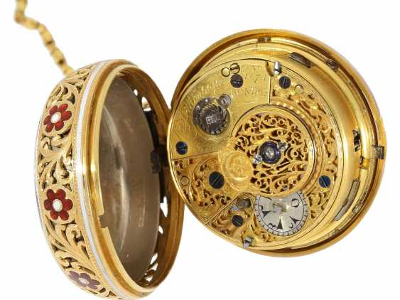 Pocket watch: a Museum, a large English Gold/enamel pocket watch with Repetition, with excellent quality, Ray & Montague, London, No. 1874, CA. 1815 - photo 3