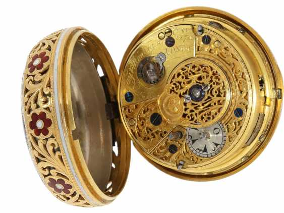 Pocket watch: a Museum, a large English Gold/enamel pocket watch with Repetition, with excellent quality, Ray & Montague, London, No. 1874, CA. 1815 - photo 4