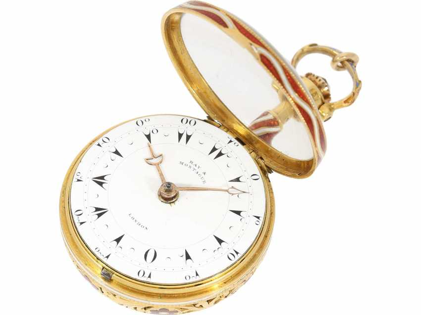 Pocket watch: a Museum, a large English Gold/enamel pocket watch with Repetition, with excellent quality, Ray & Montague, London, No. 1874, CA. 1815 - photo 5