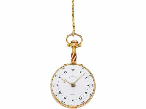 Pocket watch: a Museum, a large English Gold/enamel pocket watch with Repetition, with excellent quality, Ray & Montague, London, No. 1874, CA. 1815 - photo 6