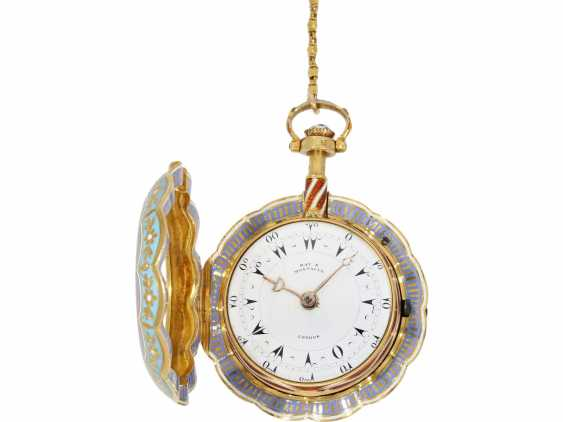Pocket watch: a Museum, a large English Gold/enamel pocket watch with Repetition, with excellent quality, Ray & Montague, London, No. 1874, CA. 1815 - photo 8