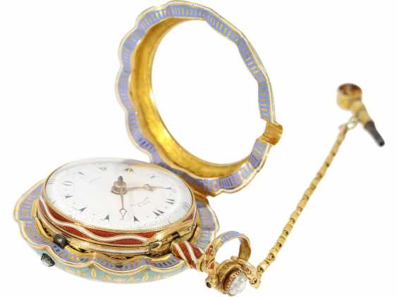 Pocket watch: a Museum, a large English Gold/enamel pocket watch with Repetition, with excellent quality, Ray & Montague, London, No. 1874, CA. 1815 - photo 9