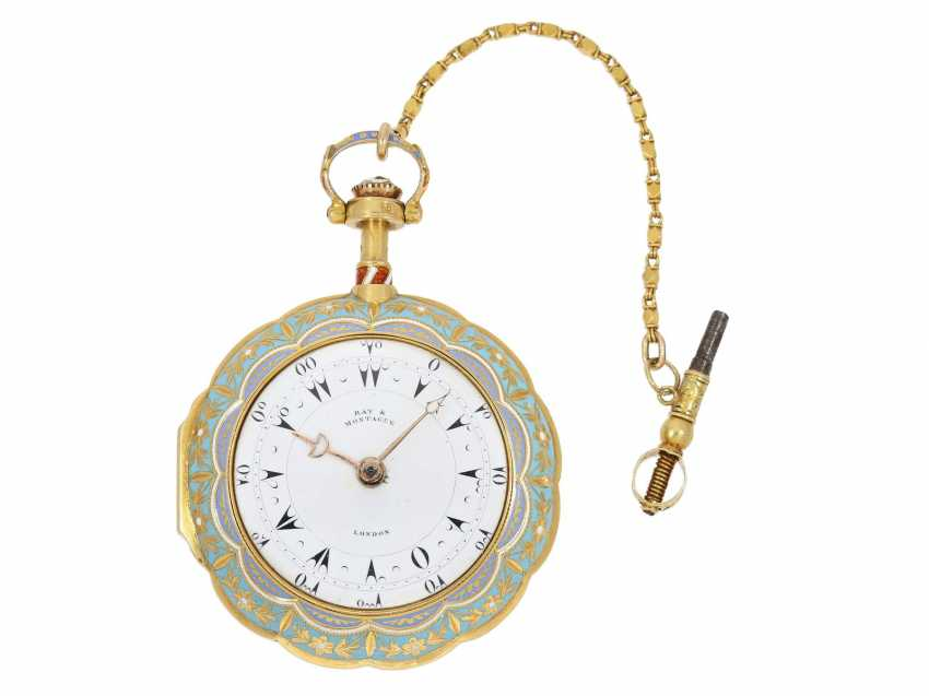 Pocket watch: a Museum, a large English Gold/enamel pocket watch with Repetition, with excellent quality, Ray & Montague, London, No. 1874, CA. 1815 - photo 10