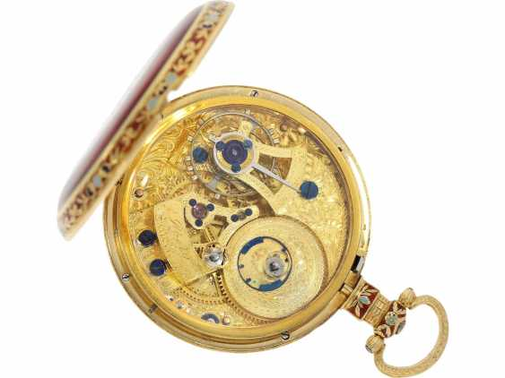 Pocket watch: excellent erhaltenene and very fine Gold/enamel pocket watch for Chinese market, Ilbery London No. 2720, about 1840/50 - photo 2