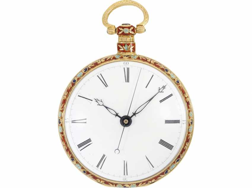 Pocket watch: excellent erhaltenene and very fine Gold/enamel pocket watch for Chinese market, Ilbery London No. 2720, about 1840/50 - photo 3