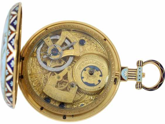 "Pocket watch: fine Gold/enamel pocket watch for the Chinese market, Bovet, ""The Butterfly"" No. 426, CA. 1830 - photo 2"