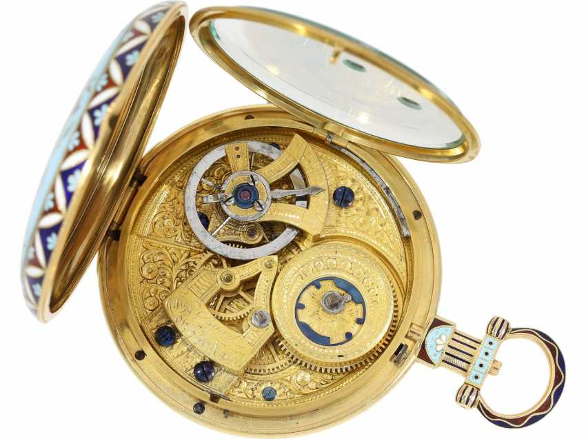 "Pocket watch: fine Gold/enamel pocket watch for the Chinese market, Bovet, ""The Butterfly"" No. 426, CA. 1830 - photo 3"