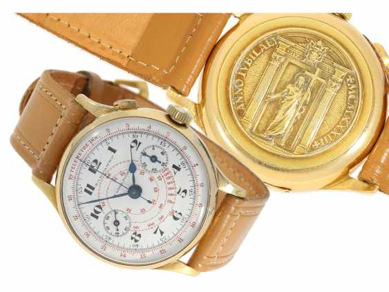 Watch: a unique, large Chronograph with a relief enclosure, made on the occasion of the jubilee year in 1933, Pope Pius XI, in Relief of Huguenin, Henry Moser, No. 8271, CA. 1933 - photo 1