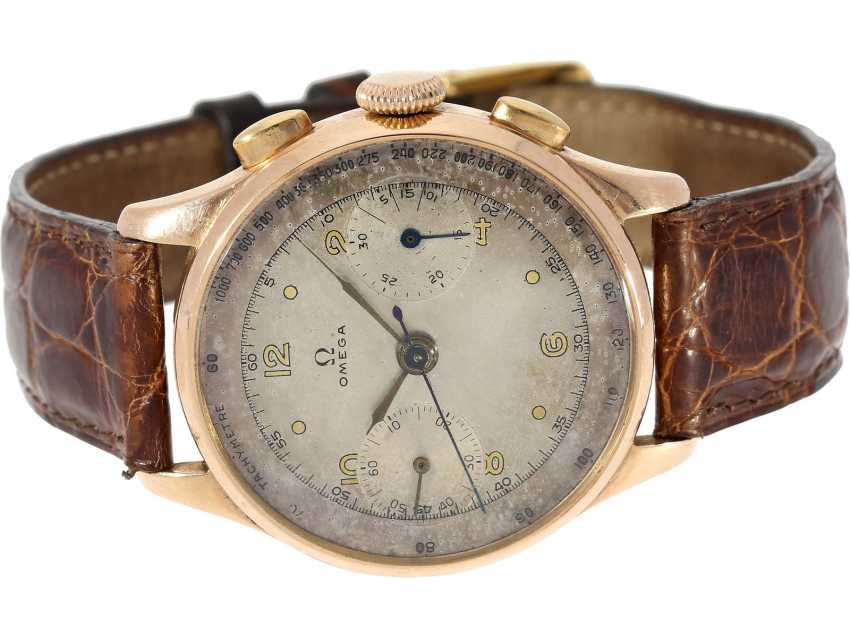 Watch: rarity, especially in large, formerly Omega Chronograph in rose gold, built in 1944 - photo 1
