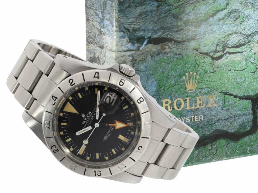 "Watch: sought-after vintage Rolex mens watch, Rolex 1655 Explorer II, 1972, 1. Series, the so-called ""Orange Hand Steve McQueen"", with original box - photo 1"