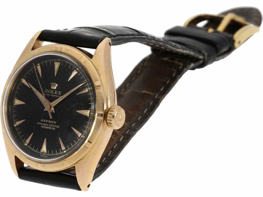 Watch: Rolex Rare Ref. 6085 in pink gold with double signature Rolex for Asprey and a black lacquer dial, approx 1953 - photo 8