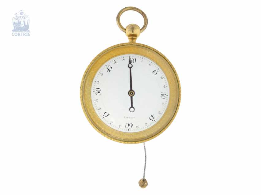 Kutschenuhr/Watch: technically interesting Watch, with a chain lift and a comma-inhibition, a special dial of 2 x 60 minutes and Souscription-Breguet-style hands, Laborie Paris, 1806-1820 - photo 1
