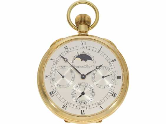 Pocket watch: rare, very fine, limited edition the IWC Moonphase wall clock with full calendar, Ref.5500 in 18K white Gold with original box and original papers, No. 48/100 from the year 1977 - photo 1