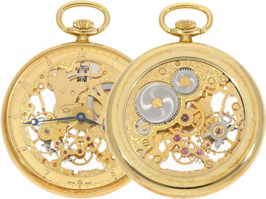 "Pocket watch: rare 18K gold Dugena ""Skeleton"", special edition of 75. Birthday of Dugena 1992, limited to 75 pieces, NEW-OLD-STOCK, complete with Box and papers - photo 1"