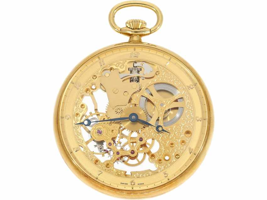"Pocket watch: rare 18K gold Dugena ""Skeleton"", special edition of 75. Birthday of Dugena 1992, limited to 75 pieces, NEW-OLD-STOCK, complete with Box and papers - photo 3"