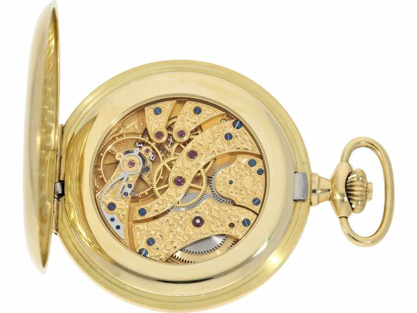 Pocket watch: extremely heavy, large, 18K Gold half-savonnette of the brand IWC, Ref. 5411/5409, with original warranty certificate and master excerpt from the book, from the year 1980 - photo 4