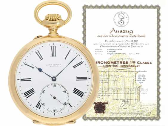 Pocket watch: a single and well-known Alexandre Hüning Observatory Chronometer special quality with design characteristics similar to the Potter-Chronometer, No. 16918, tested at the Geneva Observatory in 1900, with a Chronometer test certificate - photo 1