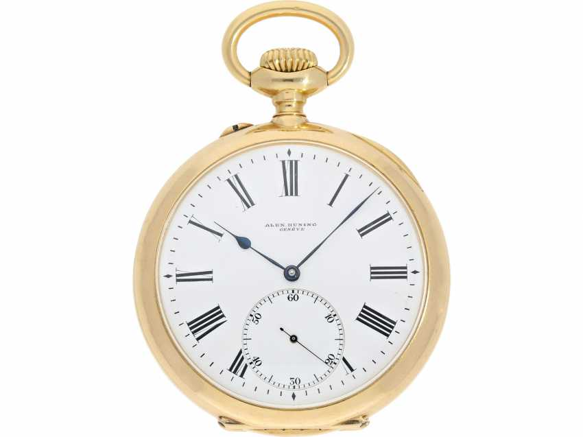 Pocket watch: a single and well-known Alexandre Hüning Observatory Chronometer special quality with design characteristics similar to the Potter-Chronometer, No. 16918, tested at the Geneva Observatory in 1900, with a Chronometer test certificate - photo 2