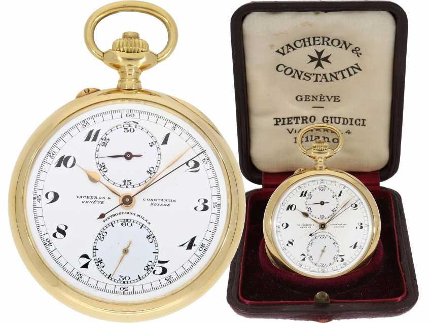 Taschenuhr: exquisites Vacheron & Constantin Ankerchronometer mit Chronograph, Doppelsignatur, Originalbox, fantastischer, neuwertiger Zustand, ca. 1920 - Foto 1