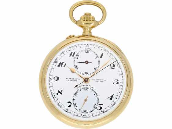 Taschenuhr: exquisites Vacheron & Constantin Ankerchronometer mit Chronograph, Doppelsignatur, Originalbox, fantastischer, neuwertiger Zustand, ca. 1920 - Foto 6
