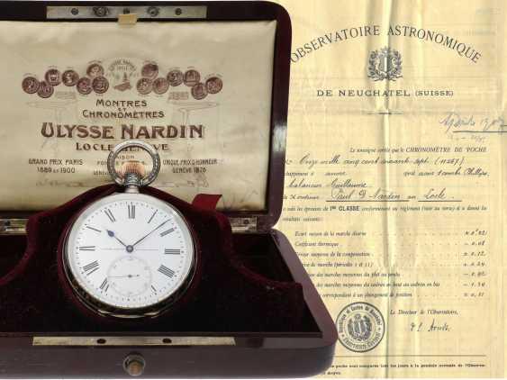 Taschenuhr: einziges uns bekanntes Ulysse Nardin Observatoriumsschronometer mit Niello-Dekoration, Originalbox, Chronometerzertifikat Observatorium Neuchatel 1907 sowie interessantes, handschriftliches Begleitschreiben - Foto 1