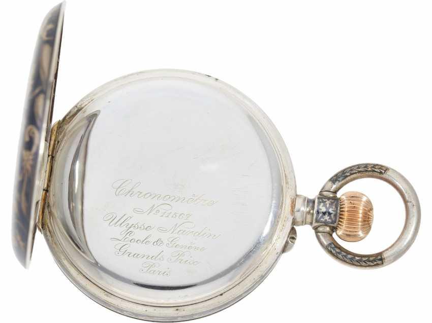 Taschenuhr: einziges uns bekanntes Ulysse Nardin Observatoriumsschronometer mit Niello-Dekoration, Originalbox, Chronometerzertifikat Observatorium Neuchatel 1907 sowie interessantes, handschriftliches Begleitschreiben - Foto 3