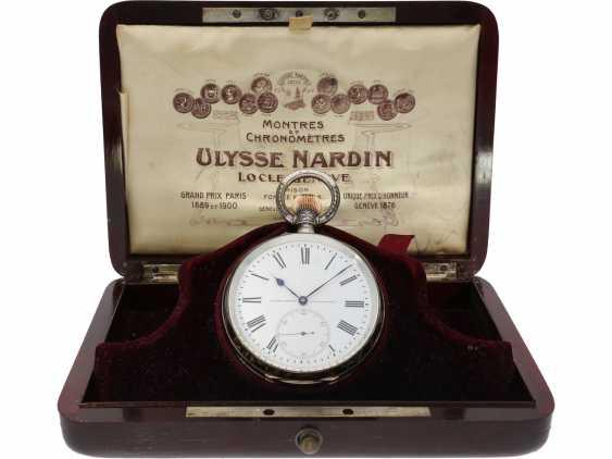 Taschenuhr: einziges uns bekanntes Ulysse Nardin Observatoriumsschronometer mit Niello-Dekoration, Originalbox, Chronometerzertifikat Observatorium Neuchatel 1907 sowie interessantes, handschriftliches Begleitschreiben - Foto 7
