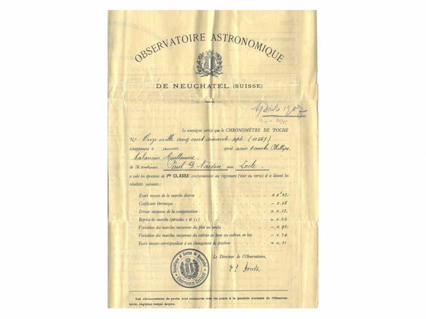 Taschenuhr: einziges uns bekanntes Ulysse Nardin Observatoriumsschronometer mit Niello-Dekoration, Originalbox, Chronometerzertifikat Observatorium Neuchatel 1907 sowie interessantes, handschriftliches Begleitschreiben - Foto 8