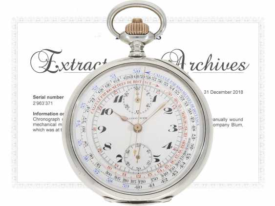 """Pocket watch: very fine, previously crown pusher Chronograph, the """"Compteur"""", Longines No. 2963371, built in 1915, lt. Master book excerpt delivered as a pilot's chronograph on the company Longines/Blum in Italy - photo 1"""