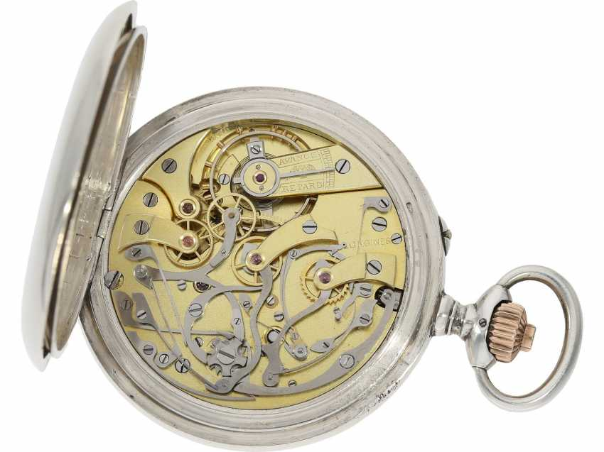 """Pocket watch: very fine, previously crown pusher Chronograph, the """"Compteur"""", Longines No. 2963371, built in 1915, lt. Master book excerpt delivered as a pilot's chronograph on the company Longines/Blum in Italy - photo 3"""