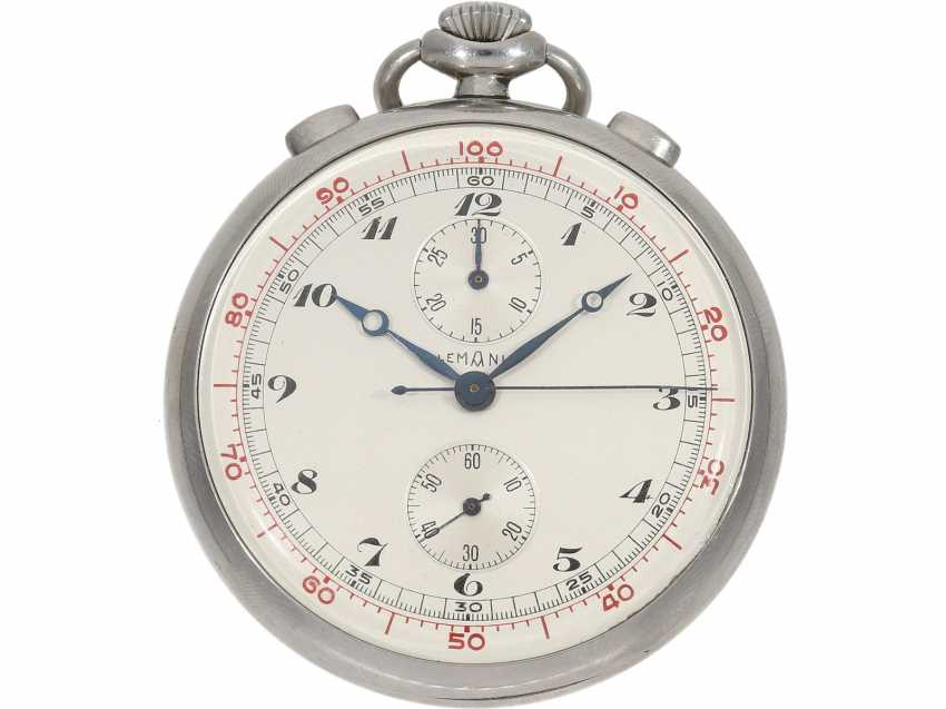 Pocket watch: extremely rare Lemania stainless steel Chronograph with extra decimal division, 30 years - photo 1