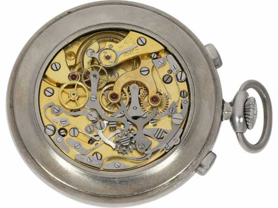 Pocket watch: extremely rare Lemania stainless steel Chronograph with extra decimal division, 30 years - photo 2