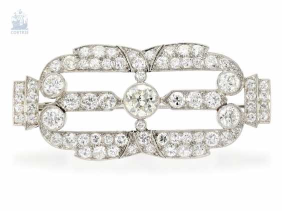 Brooch/needle: very fine Art Deco brooch made of platinum, old European cut diamond of approximately. 6ct, in hand work, probably around 1930, meisterp oz AP or AF - photo 1
