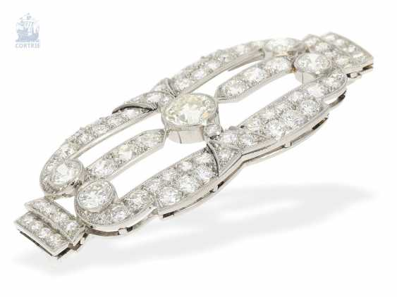 Brooch/needle: very fine Art Deco brooch made of platinum, old European cut diamond of approximately. 6ct, in hand work, probably around 1930, meisterp oz AP or AF - photo 2