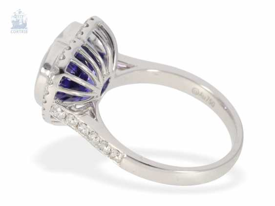 Ring: very high-quality gold-wrought ring with a beautiful heart tanzanite and fine diamonds, never worn from a business resolution - photo 3
