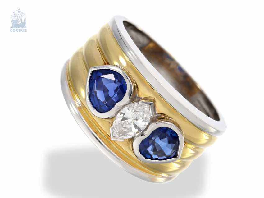 Ring: wide Bicolor gold wrought ring with a very nice Navette diamond and fine sapphire in heart shape, unworn! - photo 1